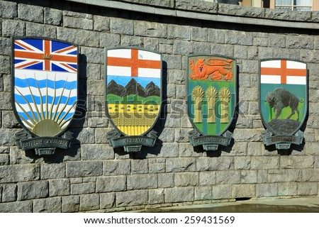 Coats of arms for the Canadian provinces of BC,Alberta,Saskatchewan and Manitoba. - stock photo