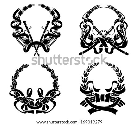 Coats of arms set with swords and ribbons for heraldry design and ornate. Vector version also available in gallery - stock photo