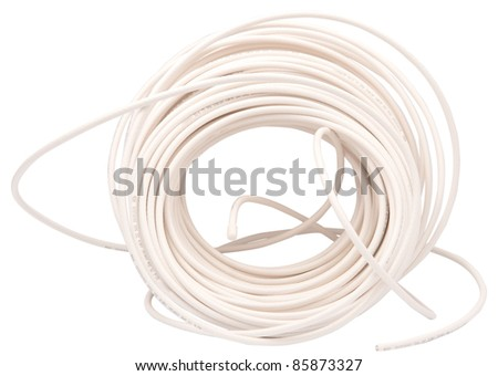 coaxial cable on a white background - stock photo