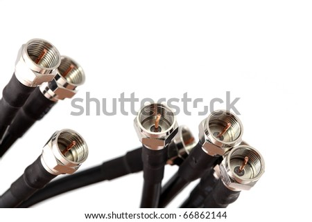 Coaxial cables with connectors - stock photo