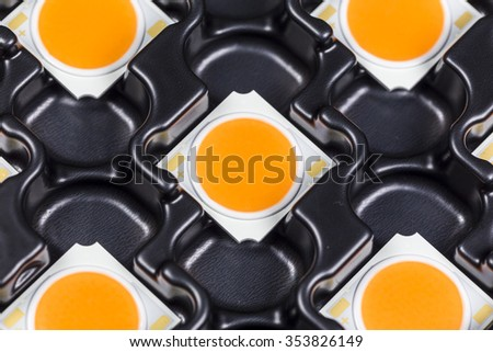 COB LEDs on black carriers trays