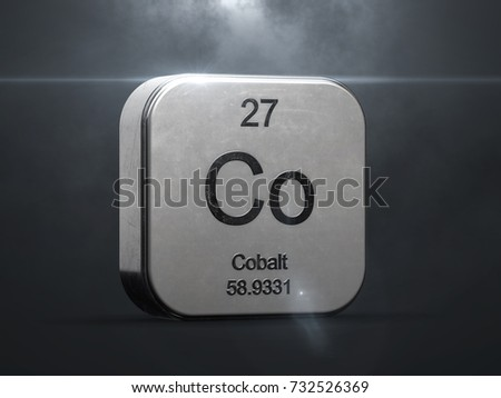 Cobalt element from the periodic table. Metallic icon 3D rendered with nice lens flare 3D render