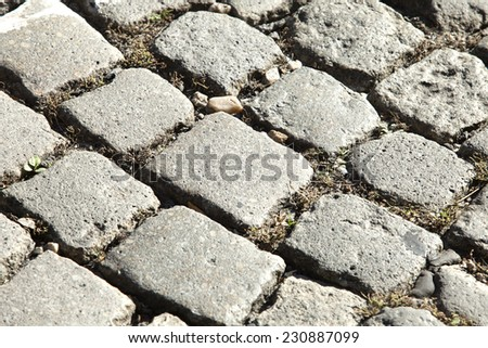 Cobble Stone Road Outdoor Background Texture  - stock photo