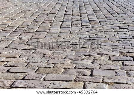 cobbled stone road in Barcelona - stock photo