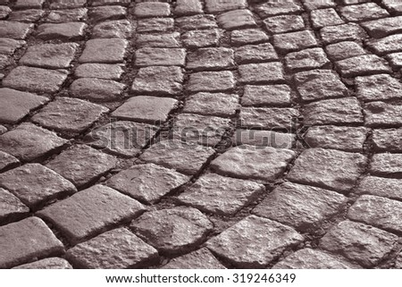 Cobbled Stones in Evening Sunlight, Vienna, Austria in Black and White Sepia Tone