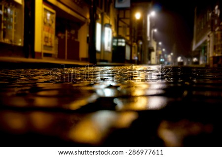 Cobbled street night