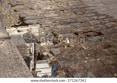 Cobbled Street with Reflection