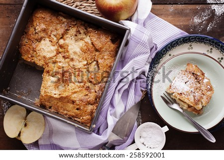 Cobbler dessert with pears and apples - stock photo