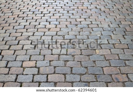 Cobbles on a road in Belgium - stock photo