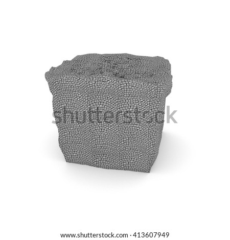 cobblestone block - 3D illustration - stock photo