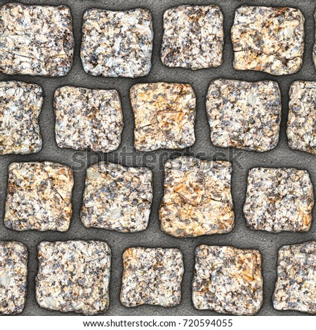 cobblestone natural stone pavers insert in concrete seamless tileable repeating square 3d rendering texture