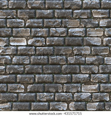 Cobblestone path bricks with wear and tear, digital illustration art work. - stock photo