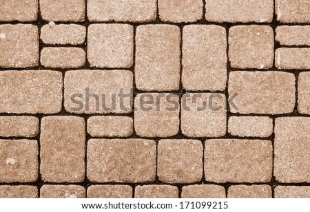 cobblestone pavement on a square - stock photo