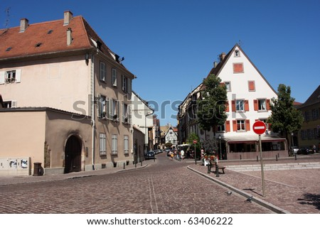 Cobblestone Street in Center of German Town