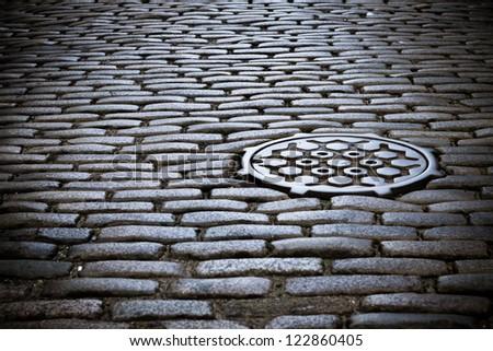 cobblestone street in new york city - stock photo
