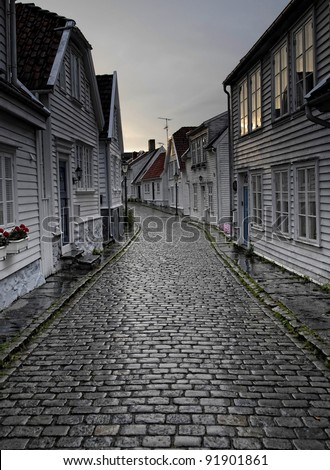Cobblestone street in Stavanger Norway
