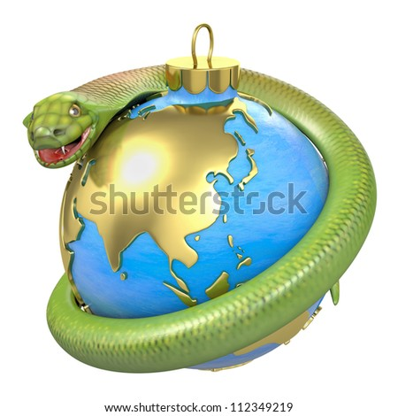 Cobra on a christmas bauble, Asia part, isolated on white background - stock photo