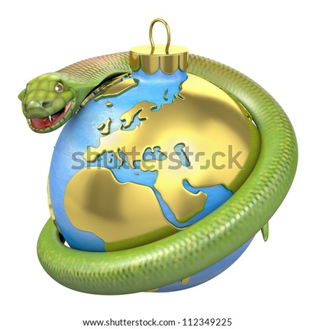 Cobra on a christmas bauble, Europe part, isolated on white background - stock photo