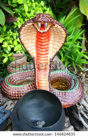 Cobra Snake Statue in temple in bangkok, thailand - stock photo