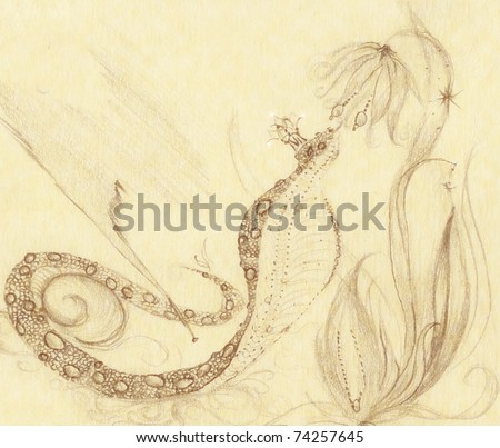 Cobra with a crown on his head attracted to the flower. Fairy story. Pencil drawing. - stock photo