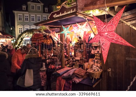 COBURG, BAVARIA, GERMANY - Circa December  2014: Scenes of Christmas market in Coburg - stock photo