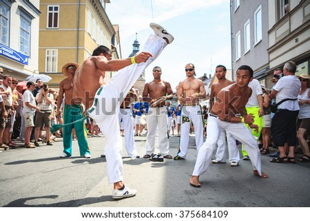 COBURG, GERMANY - CIRCA JULY, 2010: The unidentified samba musicians participates at the annual samba festival in Coburg, Germany