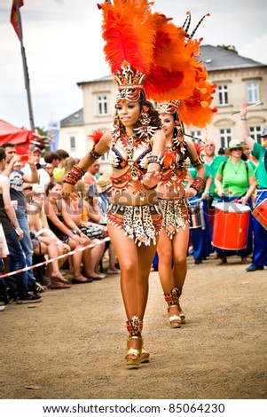COBURG, GERMANY - JULY 10: An unidentified female samba dancer participates at the annual samba festival in Coburg, Germany on July 10, 2011.