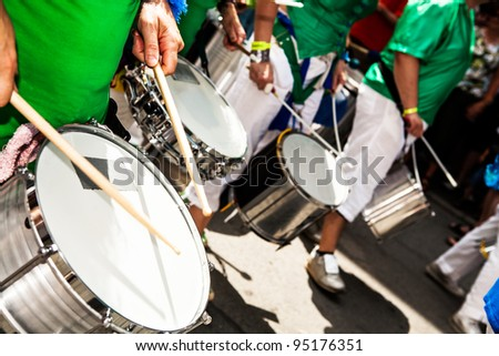 COBURG, GERMANY - JULY 11: An unidentified samba musician participates at the annual samba festival in Coburg, Germany on July 11, 2010. - stock photo