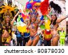 COBURG, GERMANY - JULY 13: The unidentified female samba dancers participate at the annual samba festival in Coburg, Germany on July 13, 2008. - stock photo