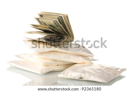 Cocaine and marijuana in packet isolated on white - stock photo