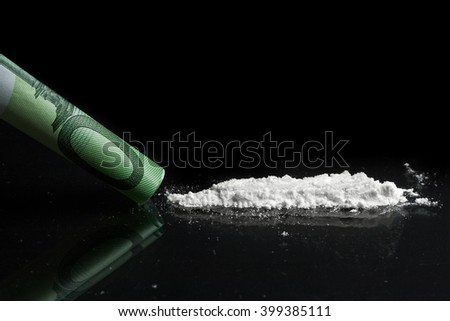 Cocaine and one hundred euro banknote - stock photo