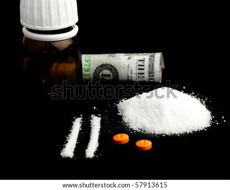 cocaine and pills - stock photo