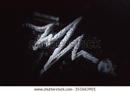 cocaine lane road to death  in the form of a pulse - stock photo