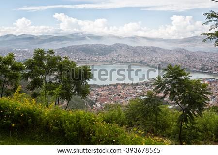 Cochabamba Bolivia a view over the Bolivian city. - stock photo