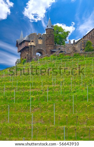 Cochem castle and vineyards against blue sky, Germany. - stock photo
