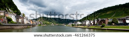 Cochem, Germany - July 17 2016: Panorama of Mosel river and Cochem city in Germany
