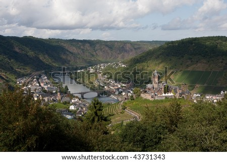Cochem with the castle Reichsburg (Germany) - stock photo