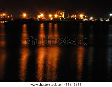 Cochin port at night,South India - stock photo