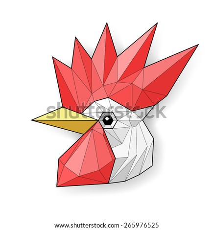 Cock. Low polygon linear illustration - stock photo