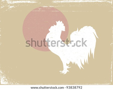 cock silhouette on grunge background - stock photo