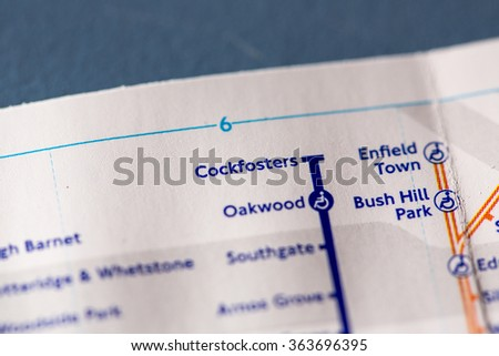 Cockfosters Station on a map of the Piccadilly metro line in London, UK. - stock photo