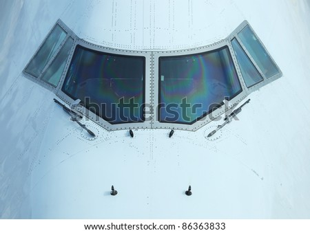Cockpit of a commercial airplane - stock photo