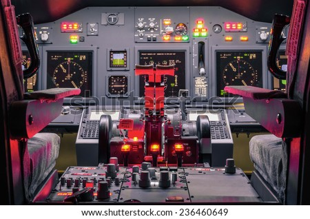 Cockpit of an homemade Flight Simulator - Concept of aerospace industry development - Flying simulation school for aviation learning pilots - stock photo