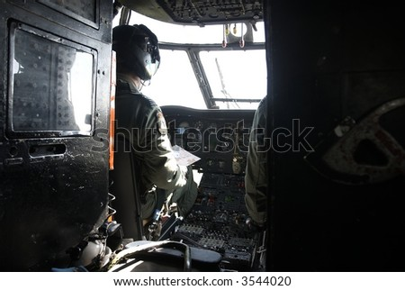 Cockpit of British Army  helicopter - stock photo