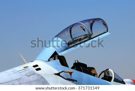 Cockpit of the fourth generation fighter with double cabin  - stock photo
