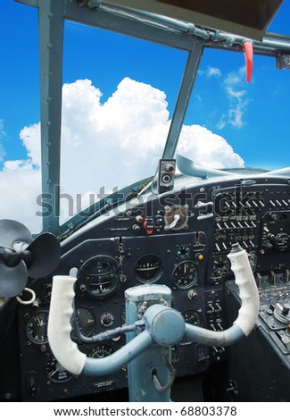 Cockpit of the old plane - stock photo