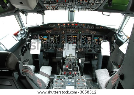 Cockpit view of a commercial airplane
