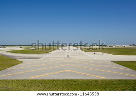 Cockpit View of a Runway - stock photo