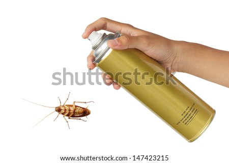 Cockroach spray with spray cans over white background - stock photo