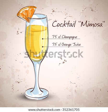 Cocktail alcohol Mimosa with Champagne, orange juice, orange - stock photo